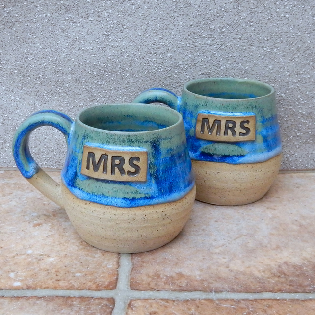Pair of Mrs & Mrs cuddle mug coffee tea cup handthrown stoneware pottery ceramic