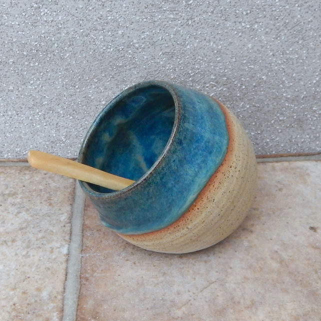 Salt pig or cellar hand thrown  stoneware ceramic pottery handmade wheelthrown