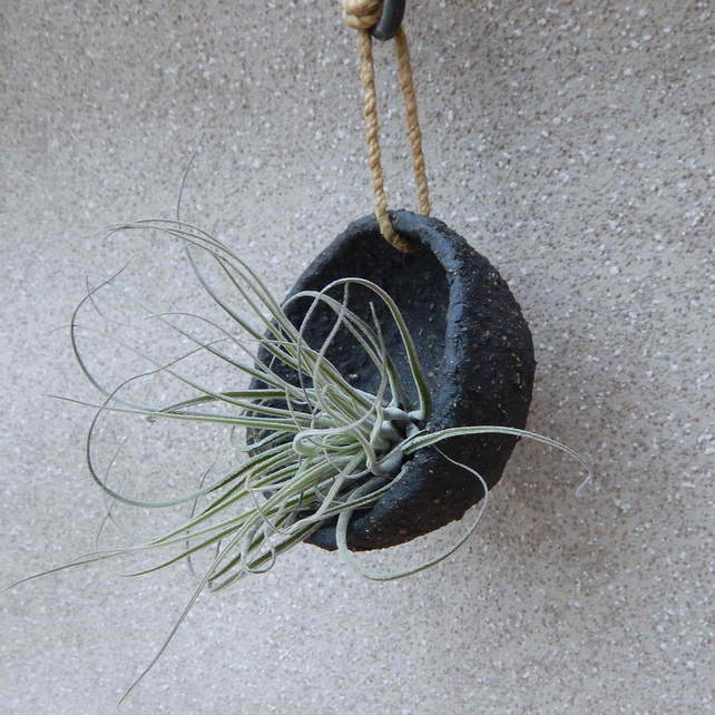 Hanging air plant holder planter handmade stoneware pottery ceramic plant pot