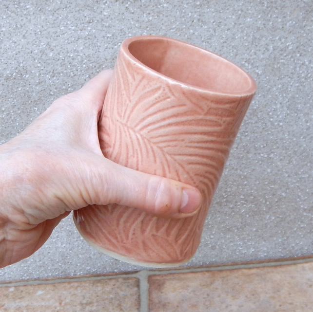 Water or juice beaker, beer tumbler cup handmade in textured stoneware pottery