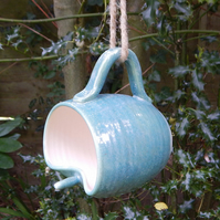 Bird feeder mug hand thrown in stoneware--weatherproof frostproof  pottery