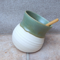 Salt pig or cellar hand thrown stoneware handmade pottery wheelthrown ceramic