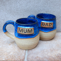 Pair of Mum & Dad cuddle mug coffee tea cup handthrown stoneware pottery ceramic