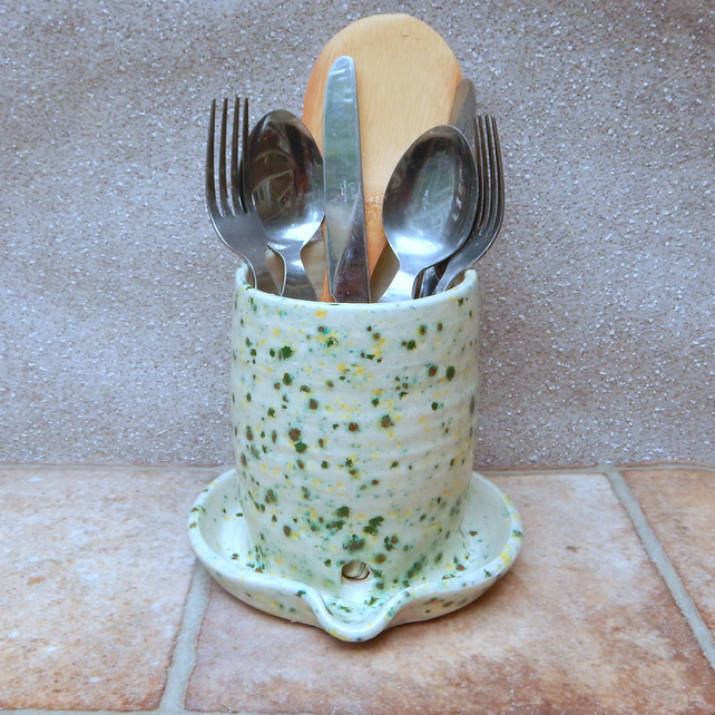 Cutlery and utensil drainer toothbrush holder  pottery hand thrown ceramic