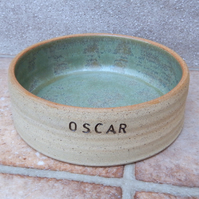 Personalised medium dog feeding bowl wheel thrown stoneware pottery