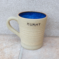Latte mug for MUMMY coffee tea cup stoneware hand thrown pottery wheelthrown