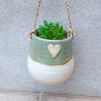 Hanging succulent or herb planter hand thrown pottery ceramic handmade plant pot