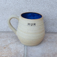Cuddle mug for MUM coffee tea cup hand thrown stoneware pottery ceramic handmade