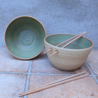 Pair of large noodle or rice serving bowl wheel thrown in stoneware pottery