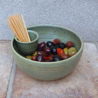 Olive serving dish hors d'oeuvres bowl hand thrown party ceramic pottery