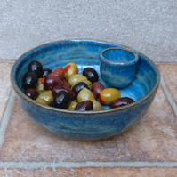 Olive serving dish hors d'oeuvres bowl hand thrown stoneware pottery ceramic