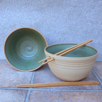 Pair of noodle or rice serving bowl wheel thrown in stoneware pottery
