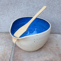 Serving bowl pate dish hand thrown in stoneware with a swedish butter knife