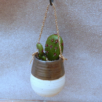 Hanging succulent or cactus planter hand thrown pottery stoneware handmade