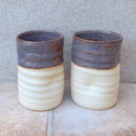 Pair of water or juice beaker tumbler wheel thrown in stoneware pottery handmade