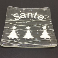 Fused Glass Santa Dish