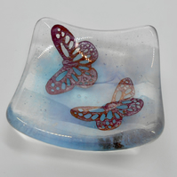 Fused Glass Butterflies Dish