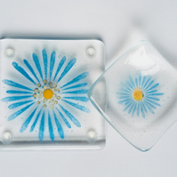 Fused Glass Coaster and Trinket Dish or Tealight Holder