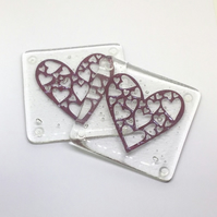 Fused Glass Heart Coasters (pair)
