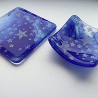 Fused Glass Trinket Dish and Coaster - Stars