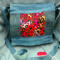 Denim & Red Leopard Print Messenger Bag