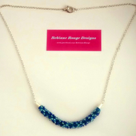 Blue & Turquoise Beaded Kumihimo Necklace