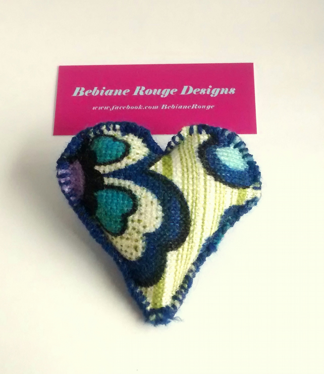 Vintage 70's Pattern Fabric Heart Brooch