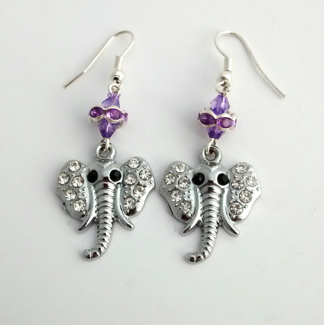 Rhinestone Elephant Earrings