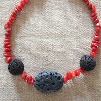 Lava Bead And Coral Necklace