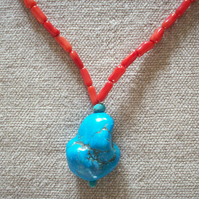 Sea Bamboo Necklace With Howlite Accent Bead