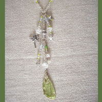 Fairy Wings Necklace Green with Charm