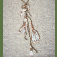 Fairy Wings Necklace Copper & Rock Crystal