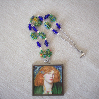 Dante Gabriel Rossetti 'The Blue Bower' & 'The Beloved' Art Necklace REVERSIBLE