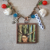 "Frida Kahlo ""The Wounded Deer"" Art Necklace"