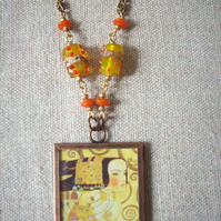 Gustav Klimt 'Expectation: Fulfilment' Art Necklace REVERSIBLE