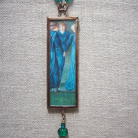"Edward Burne Jones ""King Rene's Honeymoon"" Art Necklace REVERSIBLE"