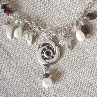 Arts & Crafts Garnet Rose Necklace