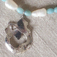 Mermaid Necklace with Pearl and Amazonite