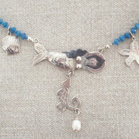 Mermaid Necklace with Charms & Blue Jade