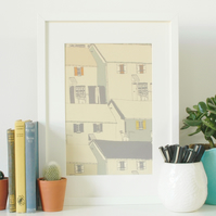 SALE - Village Houses - Limited Edition A4 Print