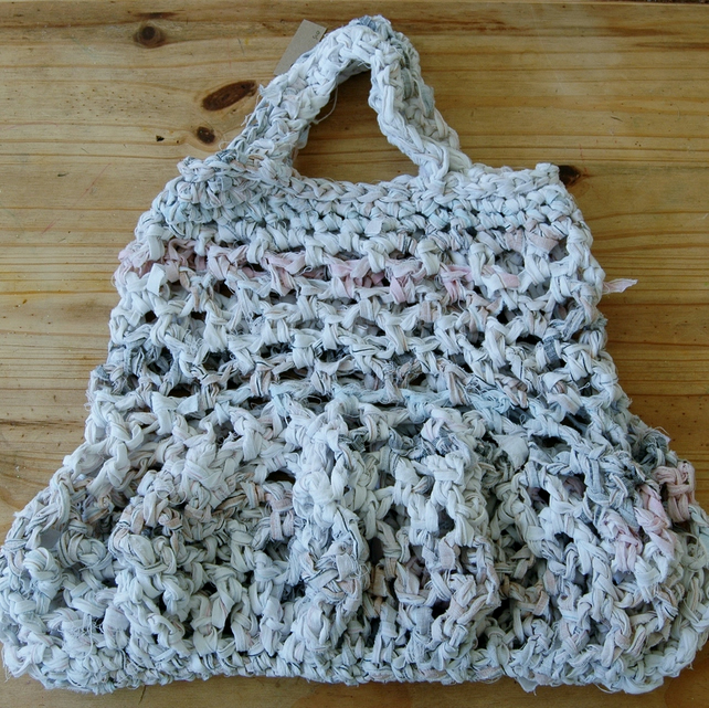 Crocheting Into Fabric : Crochet string bag made from recycled fabric. - Folksy