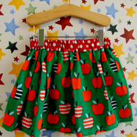 Needlecord apple print skirt - organic