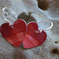 Sale - Heart earrings in salmon pink