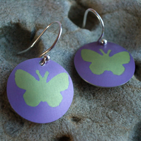 Butterfly earrings in green and purple