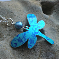 Dragonfly necklace pendant in turquoise with flowers and blue pearl
