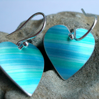 Blue stripey heart earrings