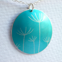 Dandelion seeds printed necklace pendant in sky blue