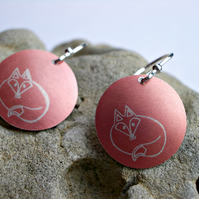 Fox earrings in pale terra cotta