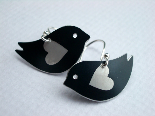 Black love bird earrings with silver heart wings