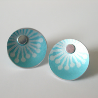 Light blue starburst stud earrings